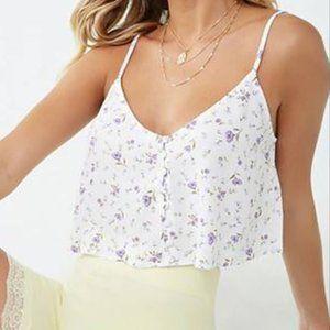 Lavender Floral Print Cropped Cami top